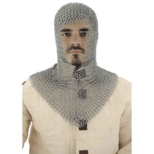 V Shaped Face Blackened Chainmail Coif