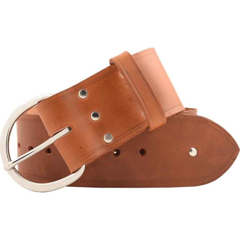 Simple Studded Wide Buckle Belt