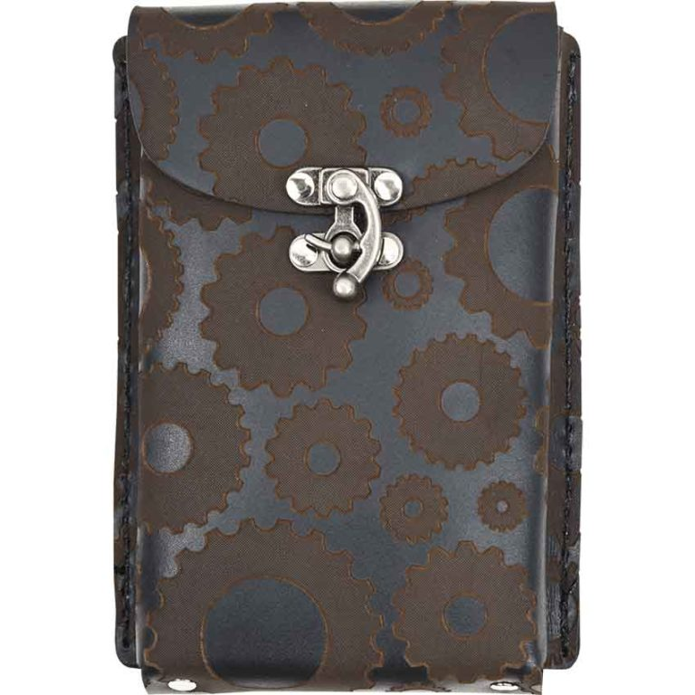 Steampunk Leather Phone Holder with Clasp