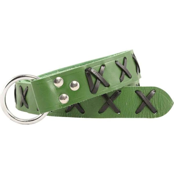 Laced Leather Ring Belt - Green with Black