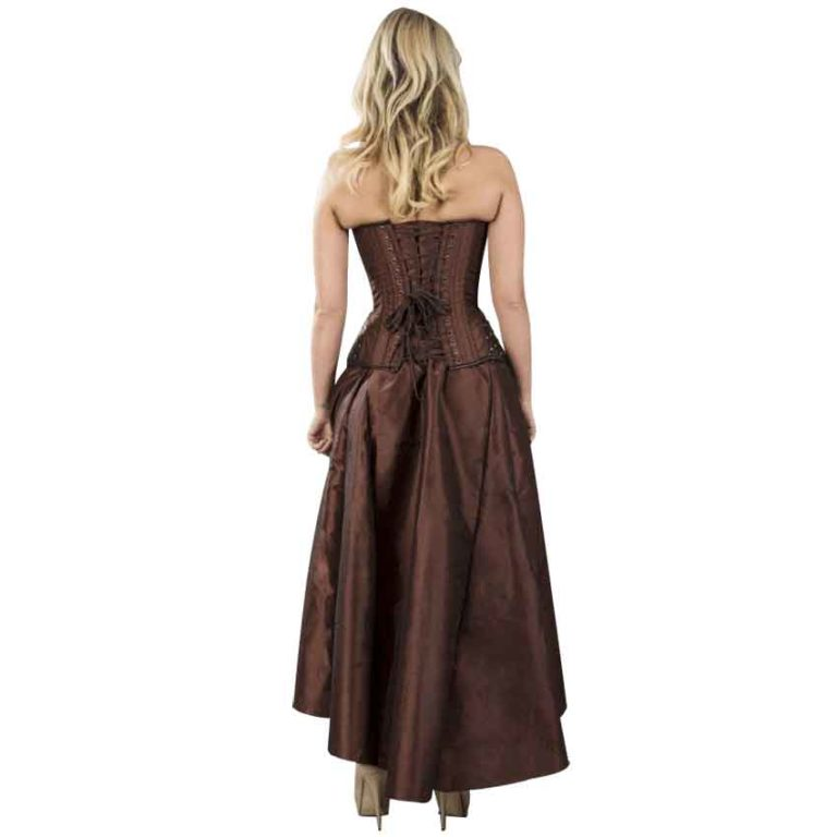 Warrior Brown Taffeta Overbust Corset