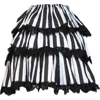 Gothic Black and White Striped Overskirt