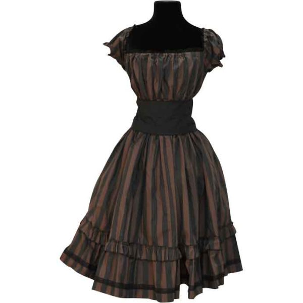 Steampunk Black and Brown Striped Dress