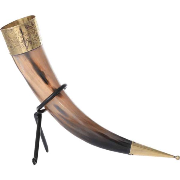 Leaf Rim Drinking Horn with Stand