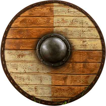 Thegn LARP Shield - White and Wood - 70 cm