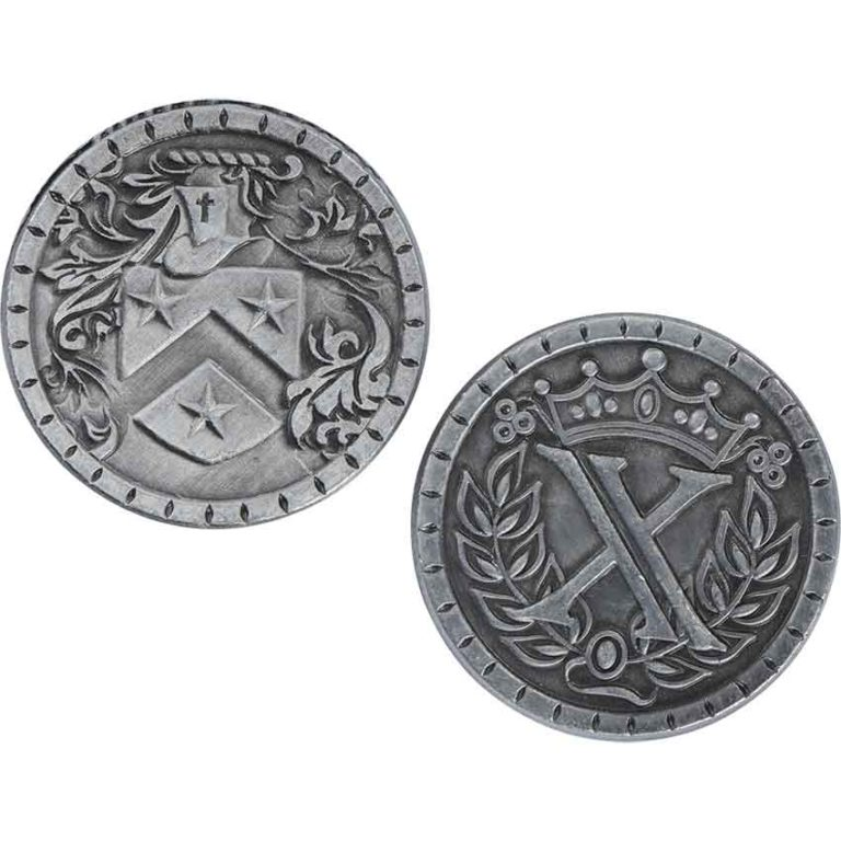 Set of 10 Silver Medieval LARP Coins