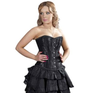 Black Satin and Lace Overbust Corset