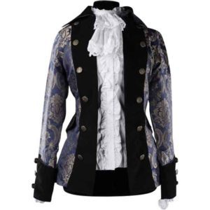 Royal Blue Patterned Lady Pirate Jacket