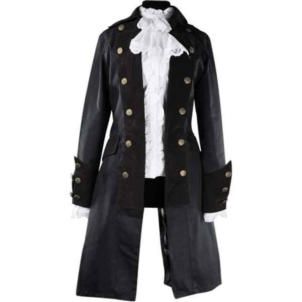 Long Black Lady Pirate Coat