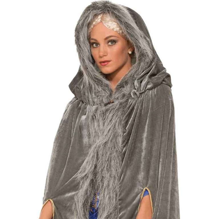 Womens Fur Trimmed Grey Costume Cloak