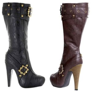 Studded and Buckled Heel Boots