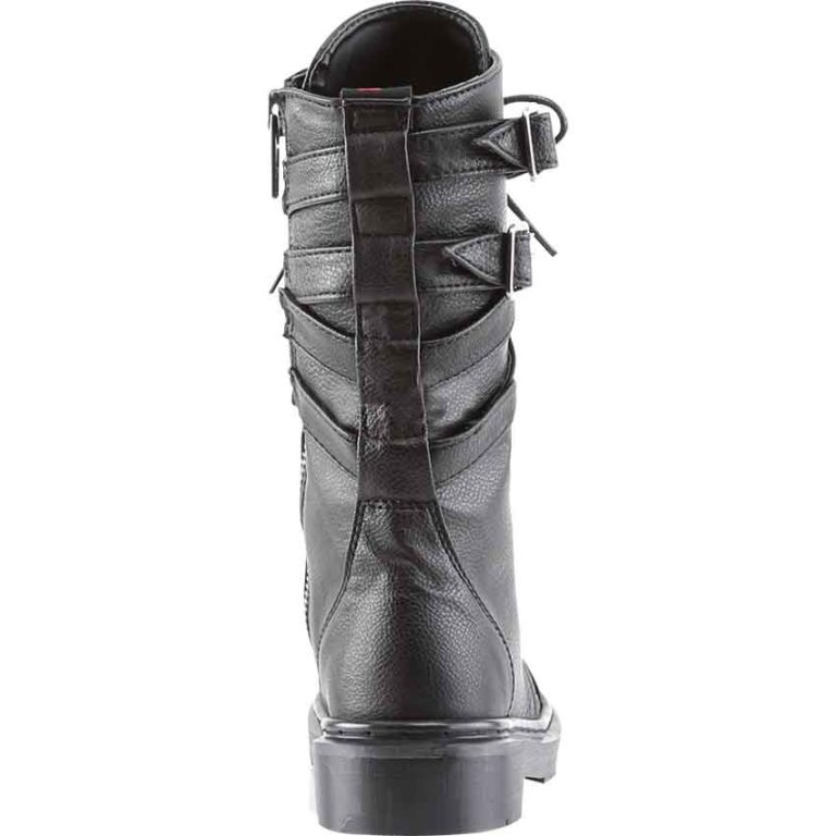 Womens Crossed Strap Combat Boots