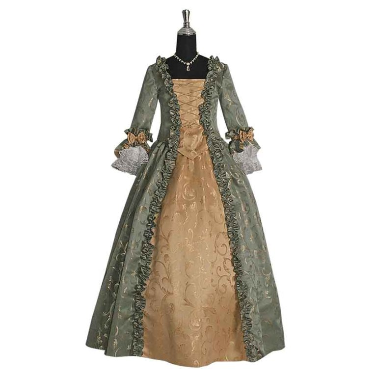 Green and Gold Baroque Renaissance Gown