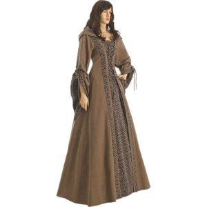 Brown Medieval Maiden Hooded Dress