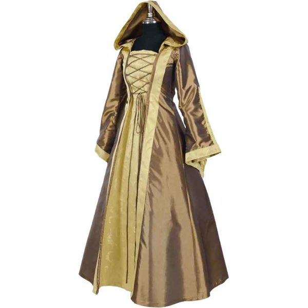 Hooded Renaissance Sorceress Gown - Bronze and Gold