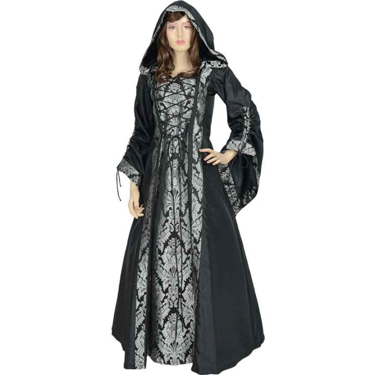 Alluring Damsel Dress with Hood – Black with Silver