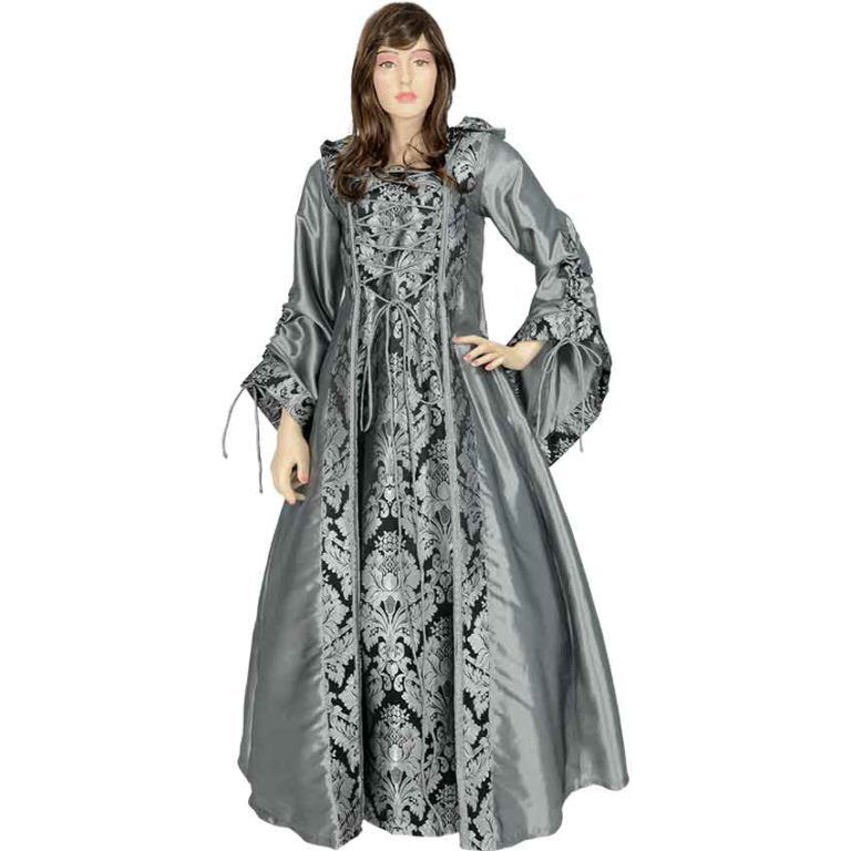 Alluring Damsel Dress with Hood – Silver with Black