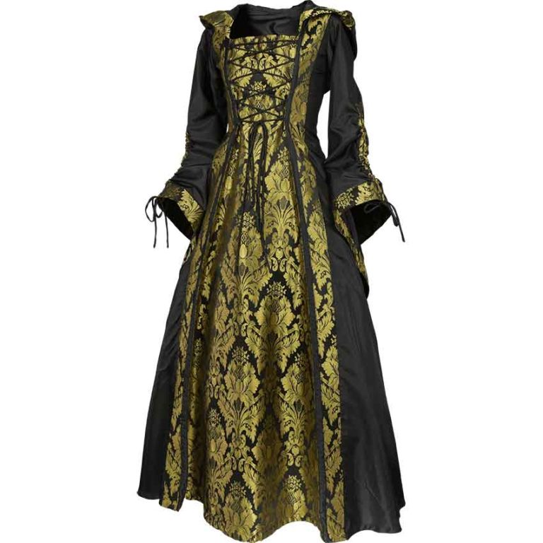 Alluring Damsel Dress with Hood – Black with Gold