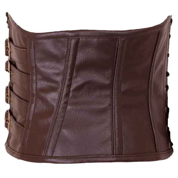Brown Faux Leather Buckled Strap Waspie