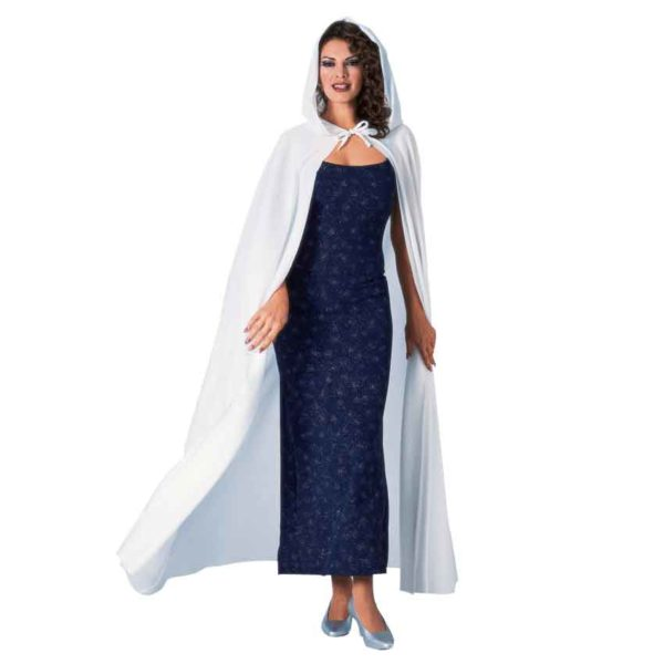 Full Length White Hooded Costume Cape
