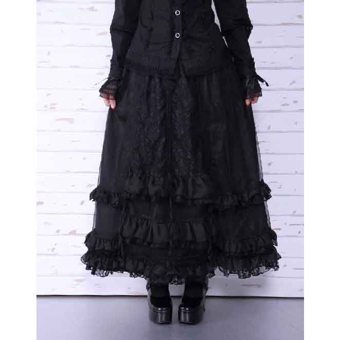 Gothic Long Ruched Ruffle Skirt