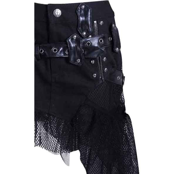 Gothic Buckled Mesh Skirt with Pouch