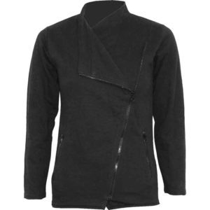 Womens Metal Streetwear Slant Zip Jacket