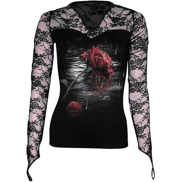 Rose Reflections Long Sleeve Lace Womens Shirt