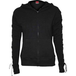 Womens Lace-Up Sleeve Black Glitter Hoodie