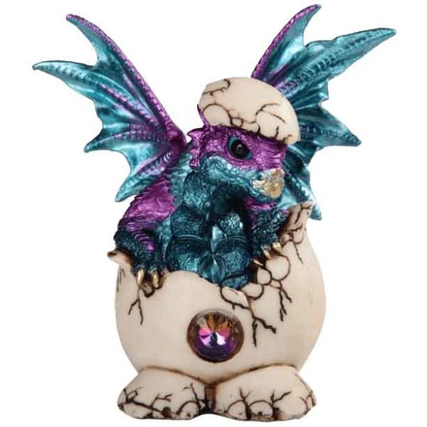 Blue and Purple Dragon Hatchling with Jeweled Egg