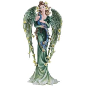 Spring Angel with Peacock Statue