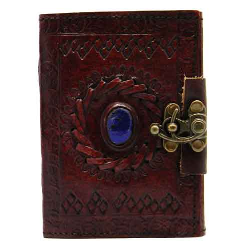 Small Embossed Stone Eye Leather Journal with Lock