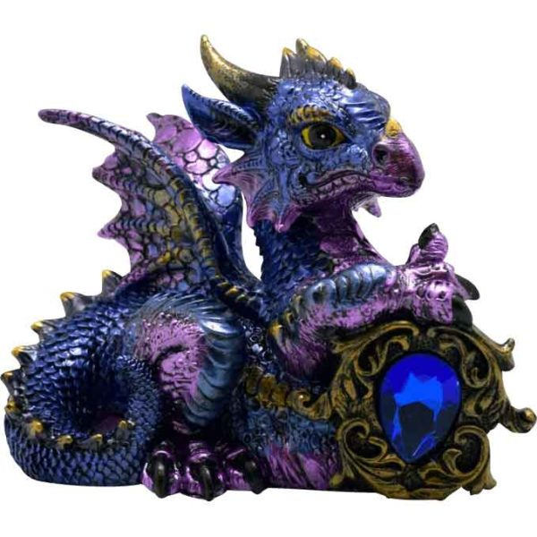 Blue-Violet Dragon with Stone Statue