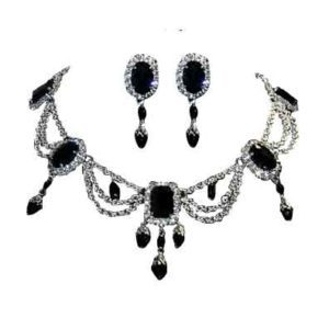 Dark Queen's Crystalline Necklace and Earring Set