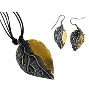 Brass and Antique Silver Leaf Necklace and Earring Set