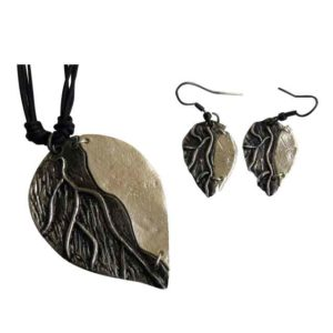 Antiqued Silver Leaf Necklace and Earring Set