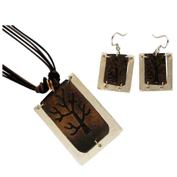 Silver and Antique Copper Engraved Tree Necklace and Earring Set