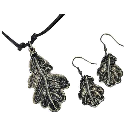 Antique Silver Oak Leaf Necklace and Earring Set