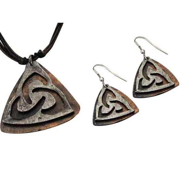 Silver and Copper Triquetra Jewelry Set