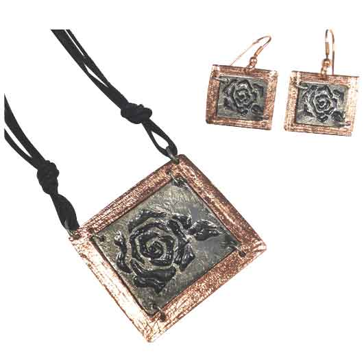 Copper and Silver Rose Jewelry Set
