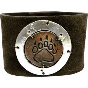 Silver and Copper Bear Print Leather Bracelet