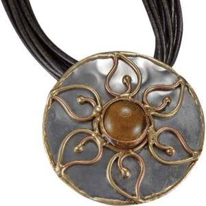 Brass and Copper Amber Flower Necklace