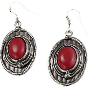 Red Coral Silver Oval Earrings
