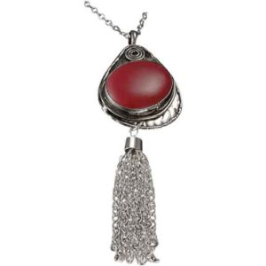 Red Coral Silver Tassel Necklace