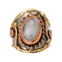 Mixed Metal Moonstone Cuff Ring