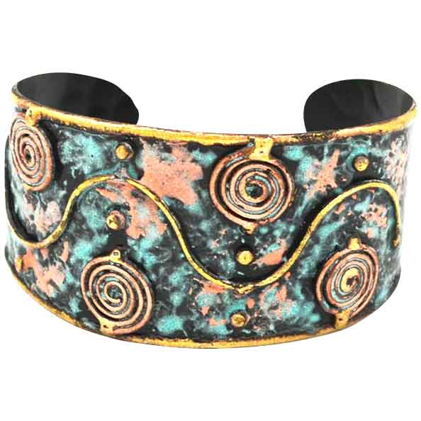 Brass and Copper Swirl Cuff Bracelet with Patina