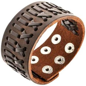 Patterned Medieval Leather Bracelet