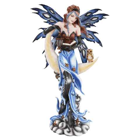 Crescent Moon Fairy and Owl Statue