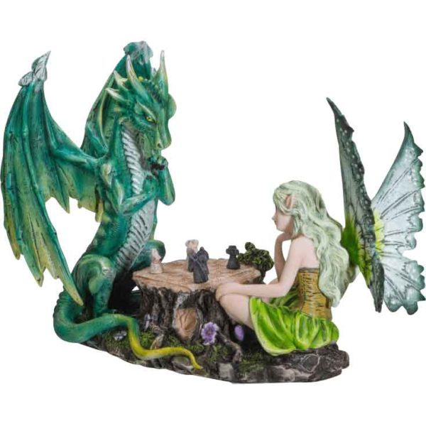 Fairy Playing Chess with Dragon Statue