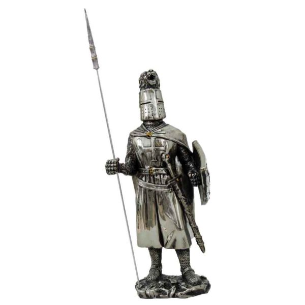 Noble Crusader Knight with Spear Statue